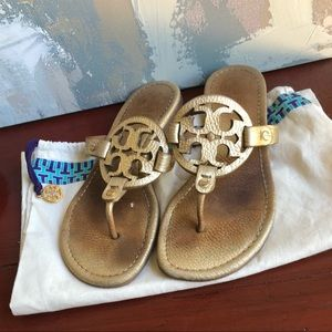 Tory Burch Miller Sandals 7 pebble Gold